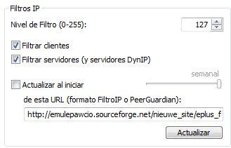 Opciones de IP Filter en eMule Plus v1.1g